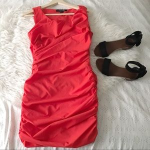Romantic Red Ruched Dress